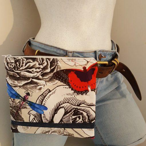pochette à ceinture papillon rouge
