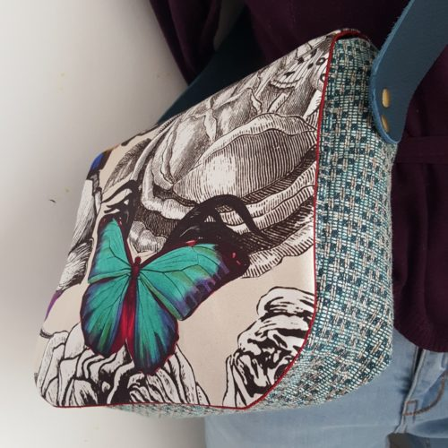 besace butterfly bleue