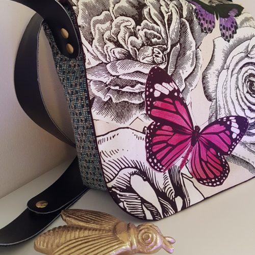 sac besace butterfly garden pink