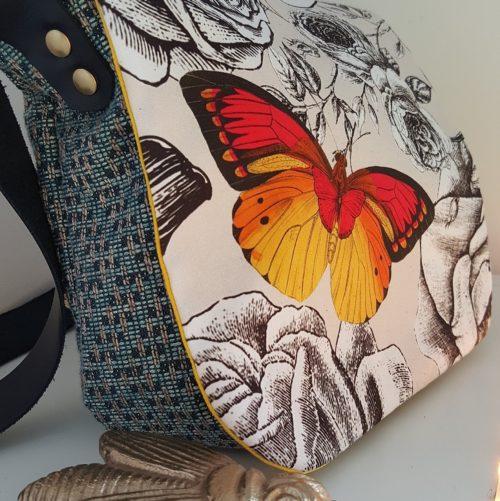 sac besace butterfly garden jaune