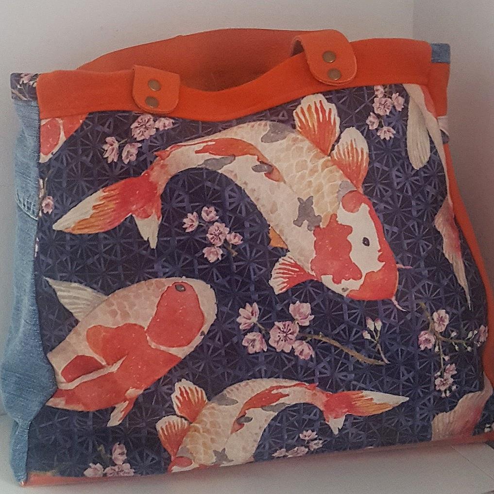 sac cabas japonisant carpes koï-fleurs de cerisier