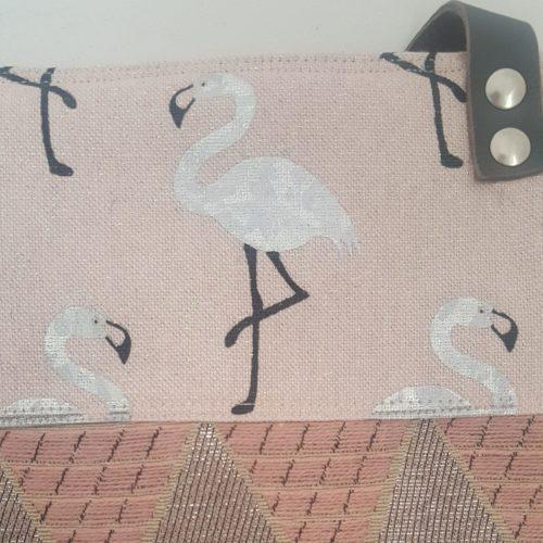 pochette flamant rose-flamingo silver