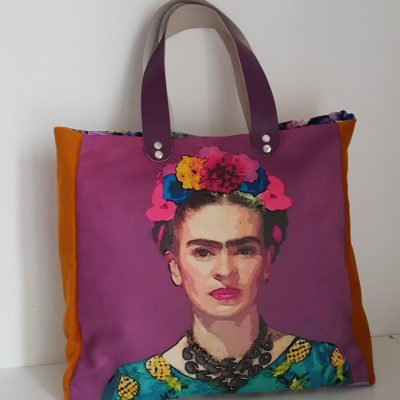 SAC FRIDA KAHLO VIOLET MOUTARDE FLOWERS