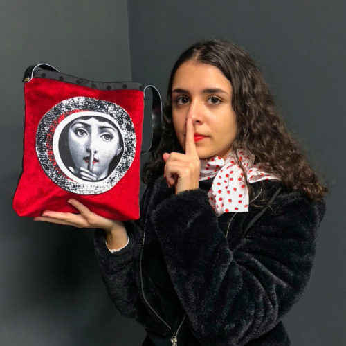 sac velours rouge