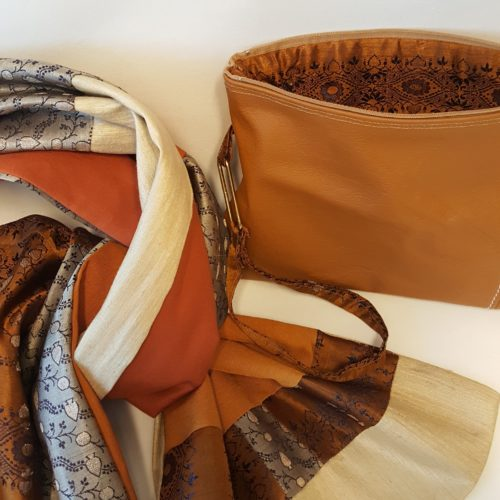 duo sac + étole soie et cuir