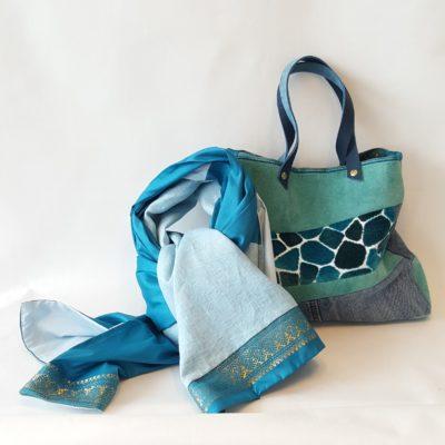 sac et étole cuir-velours-lin turquoise